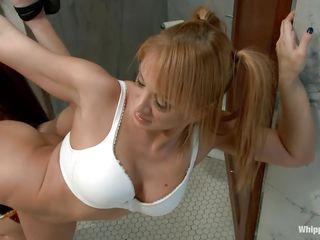 milf ties up her sex slave in a public bathroom