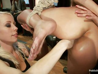 tied up brunette gets her sweet mouth fucked
