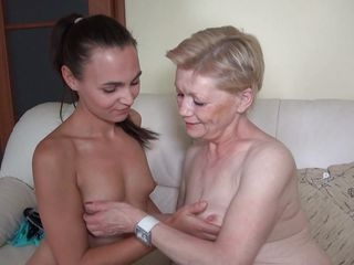 thin brunette with her saggy granny