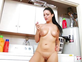 brunette mom masturbates in the kitchen