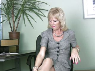blonde masturbates in office