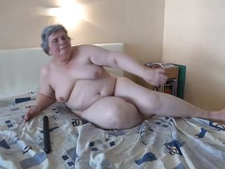 chubby granny and her big black dildo