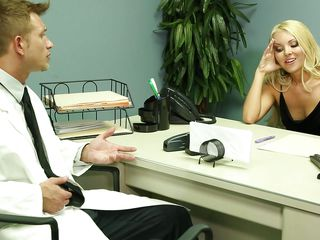 blonde beauty gives head to patient
