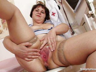 old fat nurse satisfying herself at work