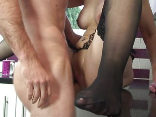 shaved pussy mature fucked in the kitchen
