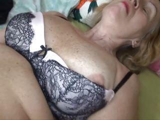granny fucks her hairy pussy alone