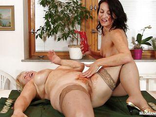 chunky mom and her brunette slut