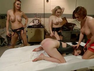 slut whipped and fucked by three lesbians