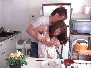 busty asian mature fucked in the kitchen