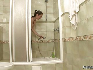 sons gf fucked by dad after showering