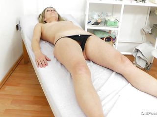 old blonde slut checked by her doc