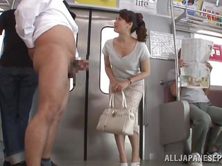 decent nippon lady sucks cock in the subway train