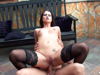 brunette milf takes a big cock in her mouth and anus