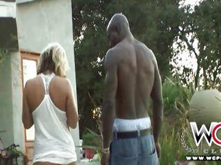 interracial couple has fun outside