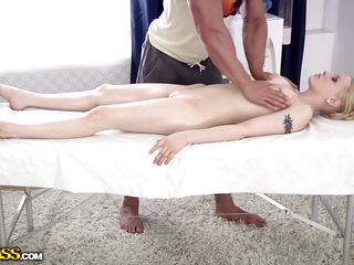 sexy oiled blonde having a massage