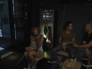 bonded milf sucks cock in a bar