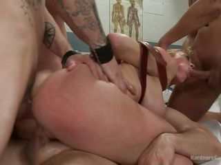blonde naked slut gets gang banged
