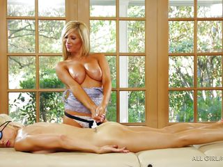 hot massage performed by skillful blonde