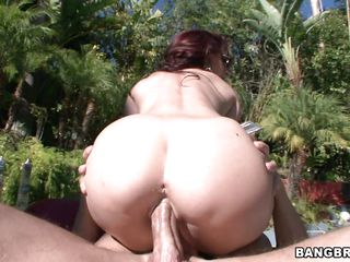 stylish milf with big butt sucking and fucking a shaved cock