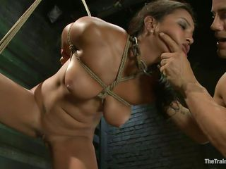 adriana is tied and fucked by a bald muscled man