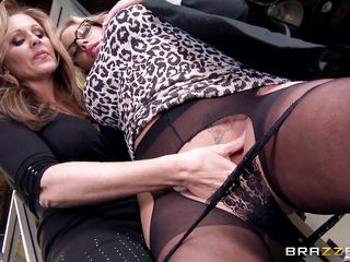 blonde milf gets fingered by her lady friend