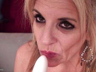 white dildo for a blonde mature