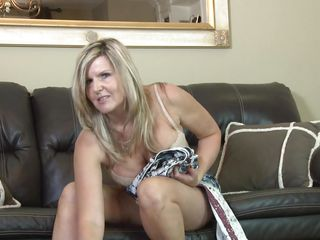 horny blonde cougar doing a hot solo