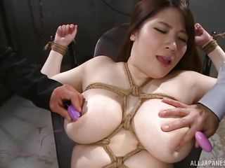 busty japanese milf tied-up and used