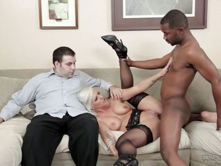 white wife fucked by black stud in front of her husband @ mom's cuckold