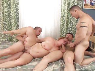 my grandma gets banged by 3 guys