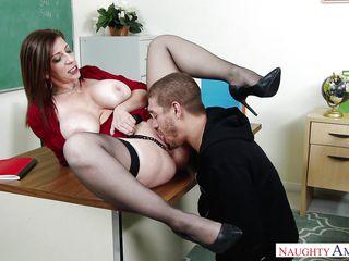 busty teacher sucks fat cock