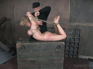 tied up slave is pleasured with the master's vibrator
