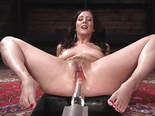 railed by a mechanical dildo