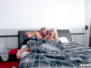 busty blonde cheats on a snoozing husband