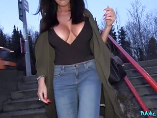 euro beauty sucks cock and flashes her massive tits