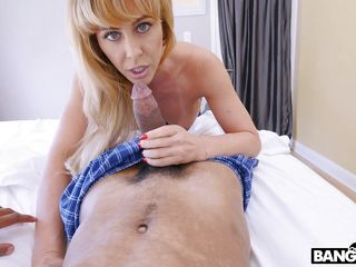 sexy blonde milf sucks on big black cock