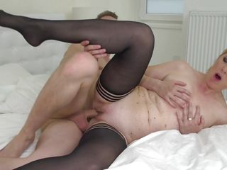 handsome guy enjoying a mature shaved pussy