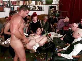 busty milf was fucked in front of a crowd of strangers