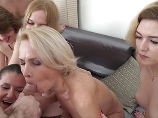 one hard dick for six horny mature ladies