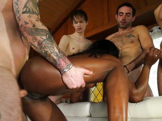 insatiable ebony milf satisfies four big dicks @ white out 8