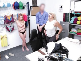 blonde shoplifters suck off the security guard