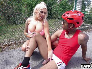 if your dick is big and black the busty blonde will happily help you