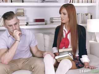 red-haired schoolgirl sucks her teacher's dick