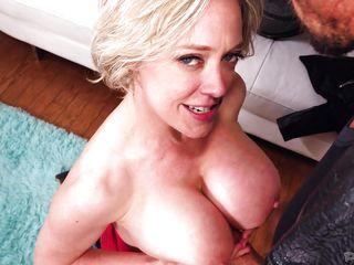with my hard cock between her titties